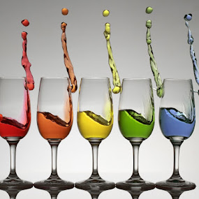 Harmonic Cheers by William Lee - Artistic Objects Other Objects (  wine glasses,  colors, splash,  action,  liquid )