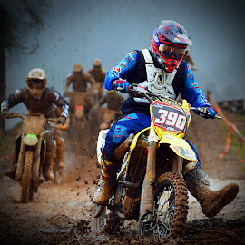 Crazy Race by Marco Bertamé - Sports & Fitness Other Sports ( curve, turn, slow down, rainy, race, followers, bike, mud, motocross, leading, leader, clumps, followwing, competition,  )
