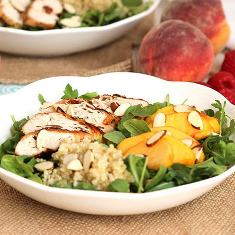 Grilled Chicken Peach and Quinoa Salad with Raspberry Vinaigrette