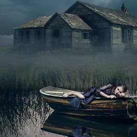 Wake me up on a boat by BRYON PHILIP - Digital Art People ( manipulated, woman, digital manipulation, digital art, lake, beauty, boat, imagination, manipulation )