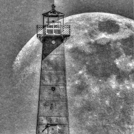Lighthouse Moon by Ruth Diamond - Black & White Landscapes ( moon, lighthouse, b & w )