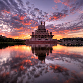 Sunrise at Masjid Putra, Putrajaya. by Nadly Aizat Nudri - Landscapes Waterscapes ( muslim, clouds, reflection, hdr, putrajaya, blue hour, malaysia, lake, allah, hdri, sky, islam, serenity, magic hour, sunrise, tranquility )