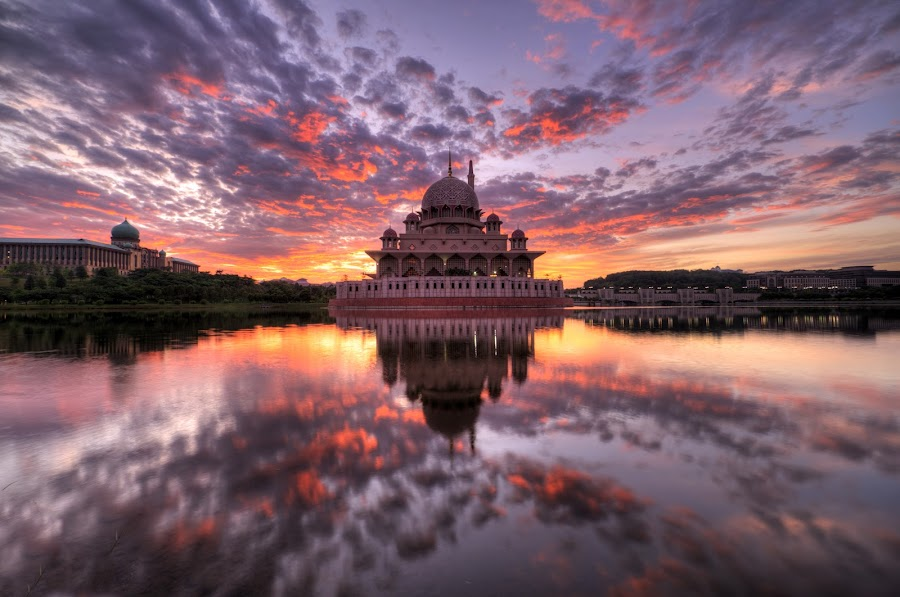 Sunrise at Masjid Putra, Putrajaya. by Nadly Aizat Nudri - Landscapes Waterscapes ( muslim, clouds, reflection, hdr, putrajaya, blue hour, malaysia, lake, allah, hdri, sky, islam, serenity, magic hour, sunrise, tranquility )