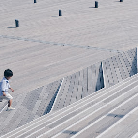 Kid in the stair by Valentina Cantera - City,  Street & Park  Street Scenes ( ferry docks, yokohama, stair, japan, kid, stairs, asia, run, terminal, boy, running, japanese, wooden, wood, stairway, floor )