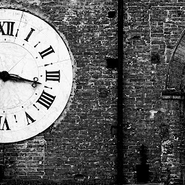 Vintage Clock by Leah Stark - Buildings & Architecture Architectural Detail ( black and white, clock, street, travel, architecture )