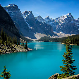 Lake Moraine by Ramon Salazar - Landscapes Mountains & Hills ( clouds, mountain, canada, blue, fall )