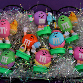 M&M Figurines  by Liz Pascal - Public Holidays Easter ( easter m&ms, m&m collectibles, holiday m&ms, m&m figurines, pastel colors, childhood easter )