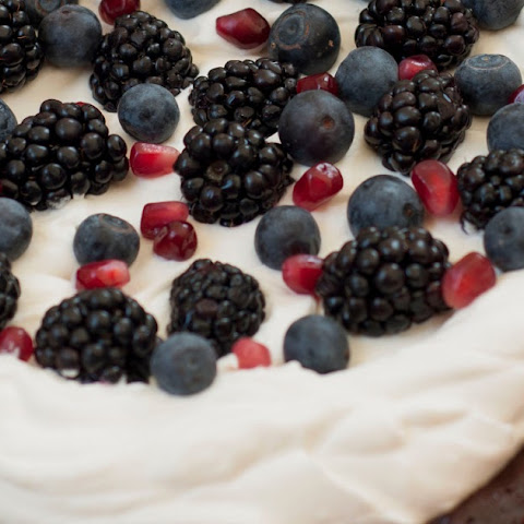 Flourless Chocolate Honey Cake with Berries and Whipped Cream