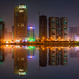 The Shore of Sharjah by Abbas Mohammed - Buildings & Architecture Architectural Detail ( red, new, amazing, bank, reflection, hdr, shore, hues, building, blues )