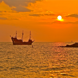 { Pirate Ship At Sunset ~ 29 July }  by Jeffrey Lee - Transportation Boats ( { pirate ship at sunset ~ 29 july } )