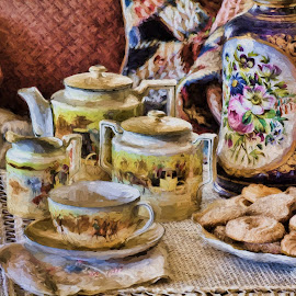 Tea and Cookies by Allen Crenshaw - Digital Art Things ( tea set, place setting, digital art, cookies, painting, photography )