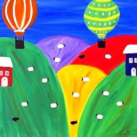 MEADOWS by Zoritza Zozo Wejnfalk - Painting All Painting ( naive art, meadows, zoritza, childrens art, zozo, wejnfalk )