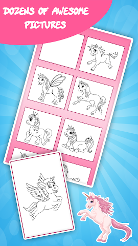 android Unicorn coloring book for kids Screenshot 3
