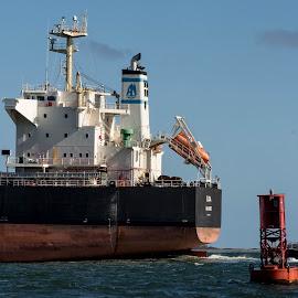 Pilot the ship by Alan Cline - Transportation Boats ( pilot boat, boston harbor, tugboat, ship, superstructure )