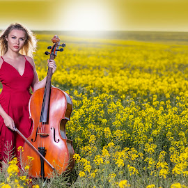 Poise by Chris O'Brien - People Portraits of Women ( music, girl, location, woman, yello, beauty, cello, spring, red dress,  )
