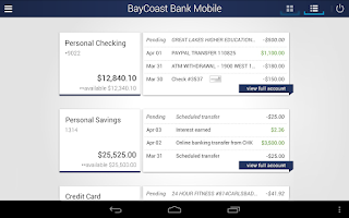 Screenshot of BayCoast Bank Mobile