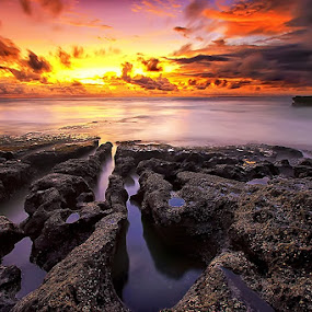 Rock Lines by Agoes Antara - Landscapes Sunsets & Sunrises ( nature, sunset, cloud, ocean, beach, landscape )