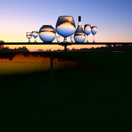 Up  by Stefan Klein - Artistic Objects Still Life ( glasses, sunrise, still life, artistic, water,  )