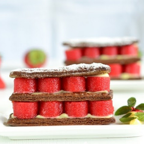 Caramelized Chocolate Mille-Feuille with Strawberries