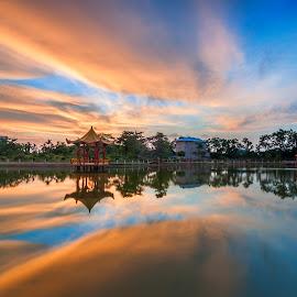 Sky Burning by Buunlie Jayadi - Landscapes Sunsets & Sunrises ( sunsets, lakes, reflections, architecture, singkawang )