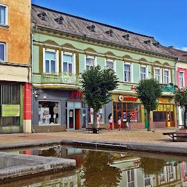 Turda by Ciprian Apetrei - City,  Street & Park  Vistas ( colorful, buildings, reflections, romania, cityscape )