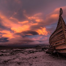 Drakkar by Eik Kristensen - Landscapes Cloud Formations ( natural light, beautiful, cloud, pink, light )