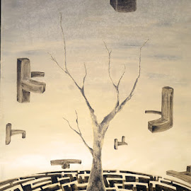 skin of infinity by Mauricio Silerio - Painting All Painting ( time, surrealism, tree, clock, sunset, labyrint, canvas, landscape, surreal, oil )