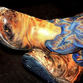 Cowgirl Boots by Noel Hankamer - Uncategorized All Uncategorized ( work, worn, blue, cowgirl, brown, used, boots )