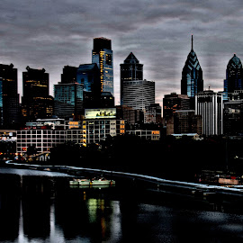 Philly on the  Skuychil River. by Valerie Stein - City,  Street & Park  Vistas ( city at night, street at night, park at night, nightlife, night life, nighttime in the city )