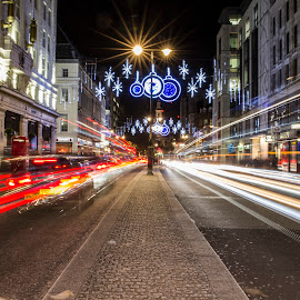 Stranded by Craig Hutton - City,  Street & Park  Street Scenes ( lights, uk, traffic, london, cars, street, strand, buildings, long exposure, night,  )