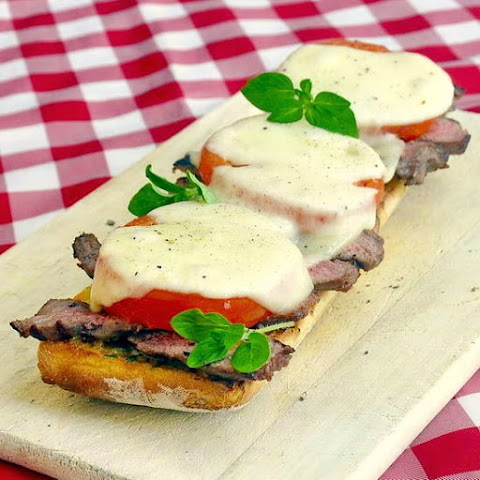 Open Face Steak Tomato and Provolone Sandwiches