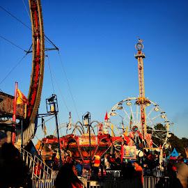 A Modern Retro State Fair by Anthony McClelland - City,  Street & Park  Amusement Parks ( #fair #rides #color #sky #blue #gorgeous #farriswheel, #farris #wheel #rollercoaster #fun #crazy )
