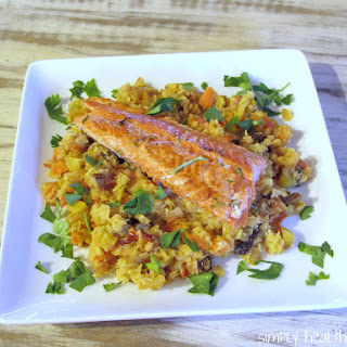 Grilled Rosemary Salmon over Lentils Rustico