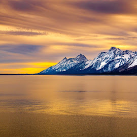 Tetons at Dusk by Tomas Rupp - Landscapes Mountains & Hills ( clouds, mountains, nature, sunset, lake, landscape, dusk, tetons )