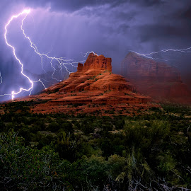 Bell Rock's Electric Chimes by Steven Love - Landscapes Weather ( famous, spectacular, hdr, bell rock, sandstone, rock, storm, high dynamic range, landscape, dangerous, photo, composite, manipulation, landmark, lightning, arizona, composition, sedona, rain )