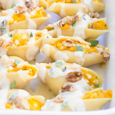 Butternut Squash Stuffed Shells with Brown Butter Alfredo Sauce