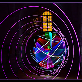 Orb and Spiral by Lesley Hudspith - Abstract Light Painting ( window, orb, lightpainting, spiral, colours,  )