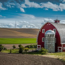 Palouse Country Classic Farm by Bob Juarez - Pixel Fusion Imagery - Landscapes Prairies, Meadows & Fields ( palouse, barn, truck, farmland, silo )