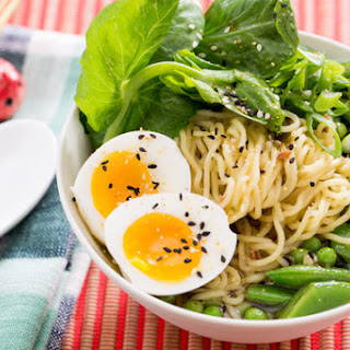 Three Pea & Barley Miso Ramen with Fresh Ramen Noodles & Soft-Boiled Eggs