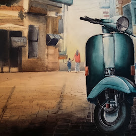 by Nayan Maity - Painting All Painting ( watercolor, vintage, streetscape, street art, street, street scene, drawing, child, street life, mother, streets, painting, street scenes, scooter )