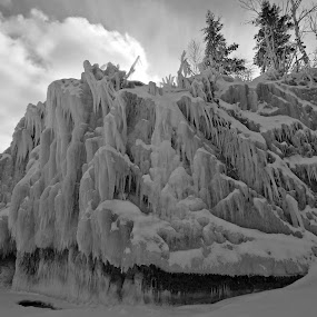 The Crystal Ship by Alison Gimpel - Landscapes Weather ( minnesota, winter, nature, black and white, ice, snow, weather, winter_trees, lake_superior,  )
