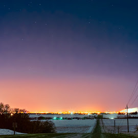 Overlook of Brandon from the hills by Andrew Sokolovic - Landscapes Prairies, Meadows & Fields ( starburst, canada, road, north, landscape, spring, prairie, nightscape, manitoba, winter, stars, snow, mb, night, brandon )