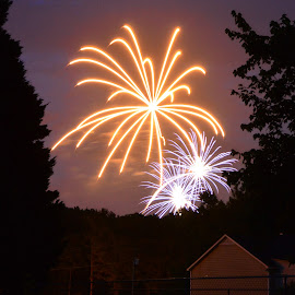 by Thomas Shaw - Abstract Fire & Fireworks ( lights, clouds, orange, sky, purple, fourth of july, trees, fireworks, night, house, fire works, light )