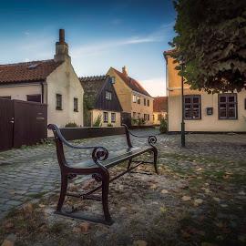 Dragør by Ole Steffensen - City,  Street & Park  Street Scenes ( copenhagen, cobblestones, bench, dragør, streets, denmark )