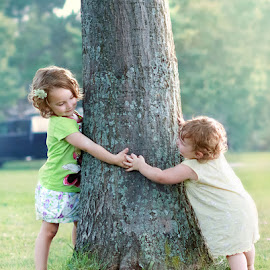 Violet and Luna Bug by Sandra Hilton Wagner - Babies & Children Children Candids ( playful, tree, female, green, outdoors, children, candid, toddler, young,  )