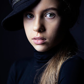 Docker girl by Christoph Reiter - Babies & Children Child Portraits ( blond hair, black background, girl )