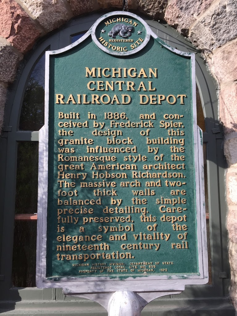 Michigan Central Railroad Depot Built in 1886, and conceived by Frederick Spier, the design of this granite block building was influenced by the Romanesque style of the great American architect Henry ...