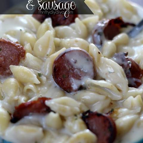 Creamy Garlic Pasta Shells with Smoked Sausage