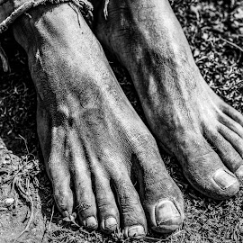 Leatherfoot by Todd Dubé - People Body Parts ( blackandwhite, black and white, texture, feet, people )
