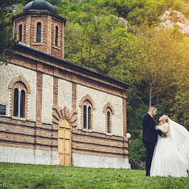 Bride and Groom by Nikolá Nikolić - Wedding Bride & Groom ( wedding photography, wedding day, sunset, dress, wedding, monastery, wedding dress, bride, wedding details, groom, sun )